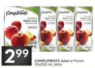 Compliments Juice or Punch 10x200 mL Tetra