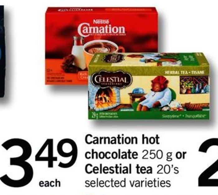 Carnation Hot Chocolate - 250 G Or Celestial Tea  - 20's