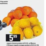 Organic Lemons - 2 Lb Bag Or Organic Oranges - 3 Lb