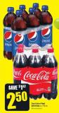 Coca-cola or Pepsi Soft Drinks 6 X 710 mL
