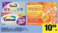 Centrum - 50-250's Or Caltrate - 50/60's Multivitamins Or Emergen-c - 18-45's