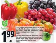 Extra Large Red Seedless Grapes Product Of Chile - No. 1 Grade Large Black Seedless Grapes Product Of Chile - No. 1 Grade Red - Orange Or Yellow Sweet Peppers Product Of Ontario Heirloom Tomatoes Product Of Ontario