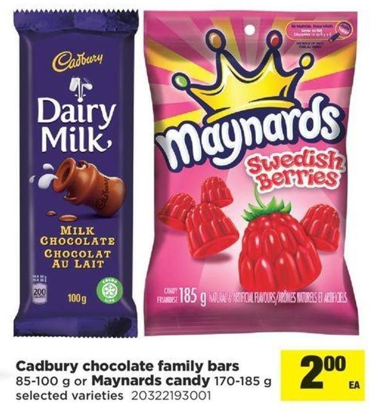 Cadbury Chocolate Family Bars 85-100 G Or Maynards Candy 170-185 G