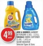 Arm & Hammer Laundry Detergent (1.81l - 2.21l) - Snuggle Fabric Softener (1.43l - 1.47l) or Scent Booster