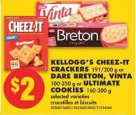 Kellogg's Cheez-it Crackers - 191/200 g or Dare Breton - Vinta - 100-250 g or Ultimate Cookies - 160-300 g
