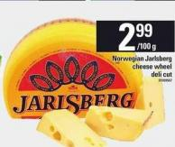 Norwegian Jarlsberg Cheese Wheel Deli Cut