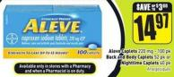 Aleve Caplets 220 Mg - 100 Pk Back and Body Caplets 52 Pk or Nighttime Caplets 40 Pk