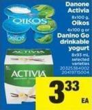 8x100 G - Oikos 4x100 G Or Danino Go Drinkable Yogurt 8x93 Ml