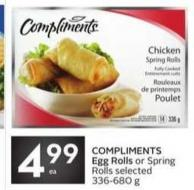 Compliments Egg Rolls or Spring Rolls Selected 336-680 g