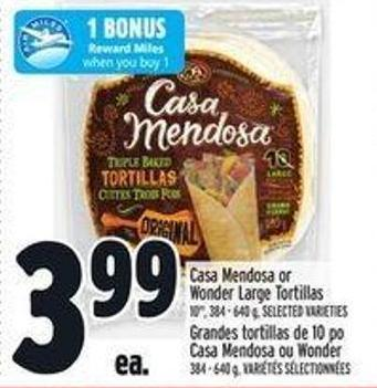 Casa Mendosa Or Wonder Large Tortillas