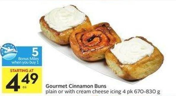 Gourmet Cinnamon Buns Plain or With Cream Cheese Icing 4 Pk 670-830 g - 5 Air Miles Bonus Miles