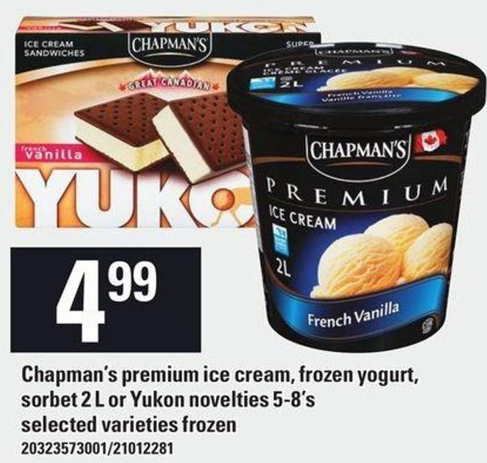 Chapman's Premium Ice Cream - Frozen Yogurt - Sorbet 2 L Or Yukon Novelties 5-8's