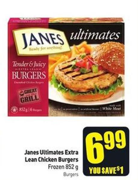 Janes Ultimates Extra Lean Chicken Burgers Frozen 852 g