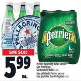 Perrier Sparkling Water 6 X 1 L Or San Pellegrino Carbonated Water 6 X 1 L