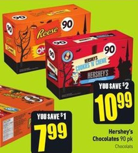 Hershey's Chocolates 90 Pk