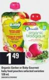 Organic Gerber Or Baby Gourmet Baby Food Pouches - 128 mL