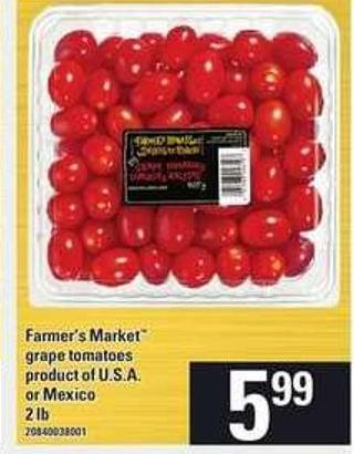 Farmer's Market Grape Tomatoes - 2 Lb