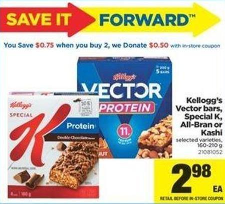 Kellogg's Vector Bars - Special K - All-bran Or Kashi - 160-210 g