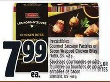 Irresistibles Gourmet Sausage Pastries or Bacon Wrapped Chicken Bites