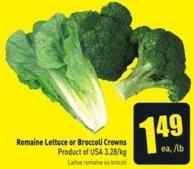 Romaine Lettuce or Broccoli Crowns
