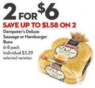 Dempster's Deluxe  Sausage or Hamburger Buns 6-8 Pack