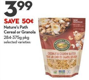 Nature's Path  Cereal or Granola 284-375g Pkg