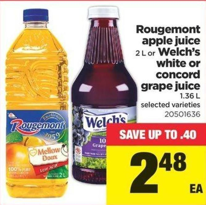 Rougemont Apple Juice 2 L Or Welch's White Or Concord Grape Juice 1.36 L