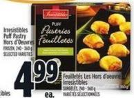 Irresistibles Puff Pastry Hors D'oeuvres Frozen - 240 - 360 g
