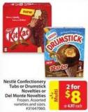 Nestle Confectionery Tubs or Drumstick Novelties or Del Monte Novelties