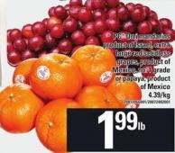 PC Orri Mandarins - Large Red Seedless Grapes Or Papaya