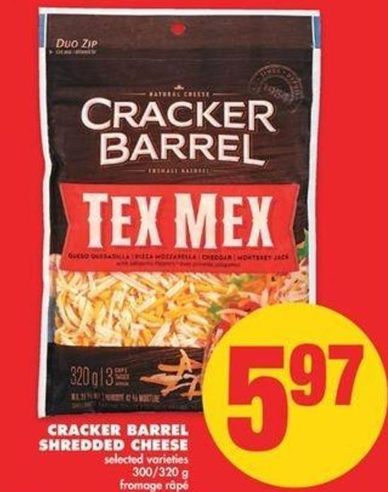 Cracker Barrel Shredded Cheese - 300/320 G