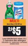 Lysol Disinfectant Wipes 35's Or Palmolive Dish Detergent 591/828 Ml