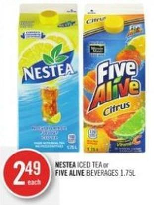 Nestea Iced Tea or Five Alive Beverages 1.75l