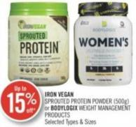 Iron Vegan Sprouted Protein Powder (500g) or Bodylogix Weight Management Products