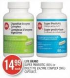 Life Brand Super Probiotic (60's) or Digestive Enzyme Complex (90's) Capsules