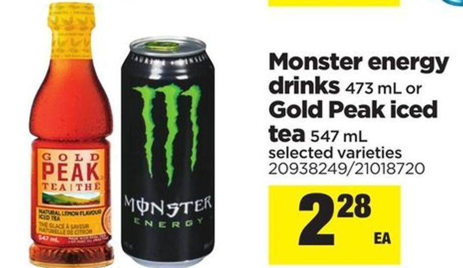 Monster Energy Drinks - 473 Ml Or Gold Peak Iced Tea - 547 Ml