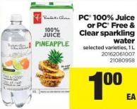 PC 100% Juice Or PC Free & Clear Sparkling Water - 1 L