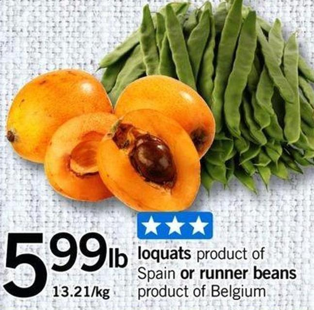 Loquats Product Of Spain Or Runner Beans