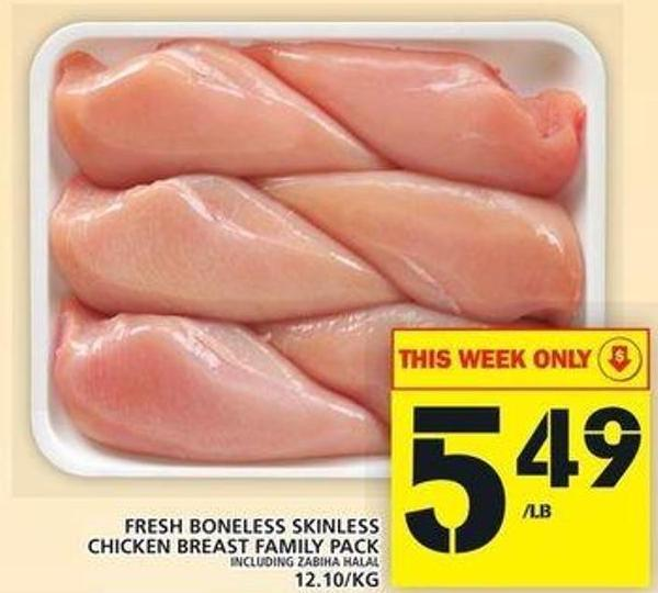 Fresh Boneless Skinless Chicken Breast Family Pack