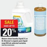 Nature Clean Laundry Liquid - 3 L Or Dr. Bronner's Organic Pure Liquid Soap - 944 Ml
