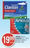 Aerius (20's) or Claritin (15's- 30) Allergy Tablets