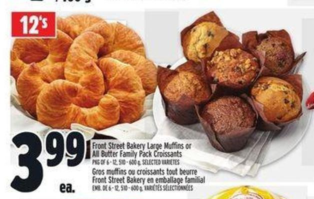 Front Street Bakery Large Muffins or All Butter Family Pack Croissants