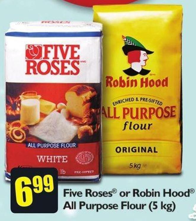 Five Roses or Robin Hood All Purpose Flour 5 Kg