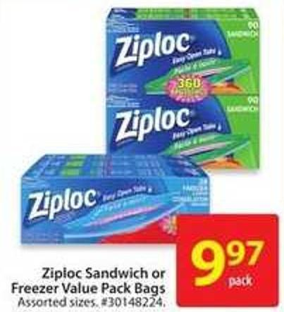 Ziploc Sandwich or Freezer Value Pack Bags