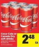 Coca-cola Or Canada Dry Soft Drinks - 6x222 mL