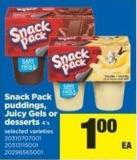 Snack Pack Puddings - Juicy Gels Or Desserts 4's