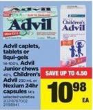 Advil Caplets - Tablets Or Liqui-gels - 14-100's - Advil Junior Chews - 40's - Children's Advil - 230 Ml Or Nexium 24hr Capsules - 14's