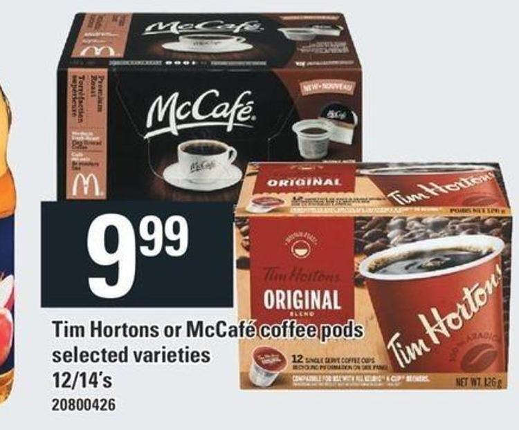 Tim Hortons Or Mccafé Coffee PODS - 12/14's