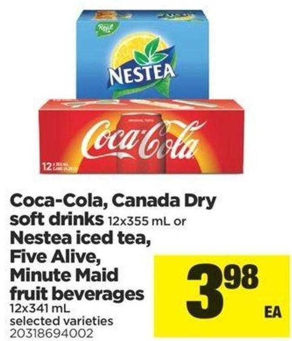 Coca-cola - Canada Dry Soft Drinks - 12x355 Ml Or Nestea Iced Tea - Five Alive - Minute Maid Fruit Beverage - 12x341 Ml
