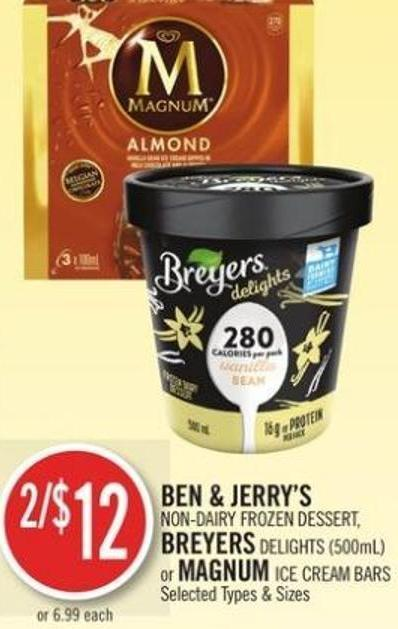 Ben & Jerry's Non-dairy Frozen Dessert - Breyers Delights (500ml) or Magnum Ice Cream Bars